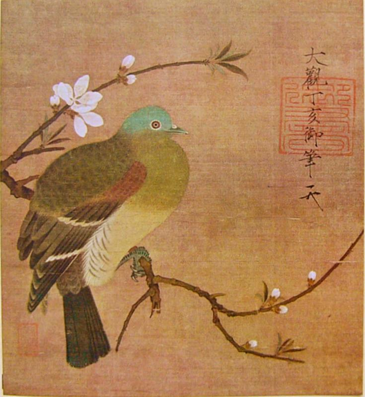 pigeon on a peach branch, Emperor Huizong, 1108